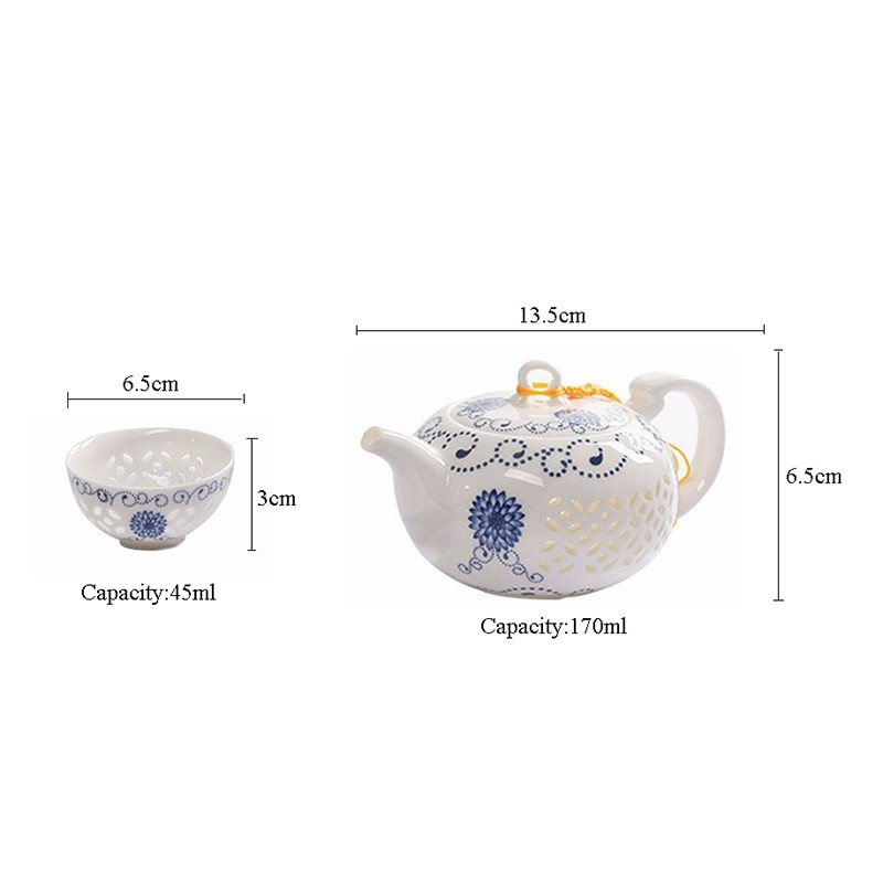 Blue and White Ceramic Teapot and Cup Set