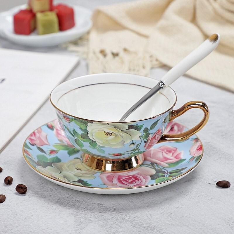 Floral Pattern Porcelain Tea Cup, Saucer and Spoon