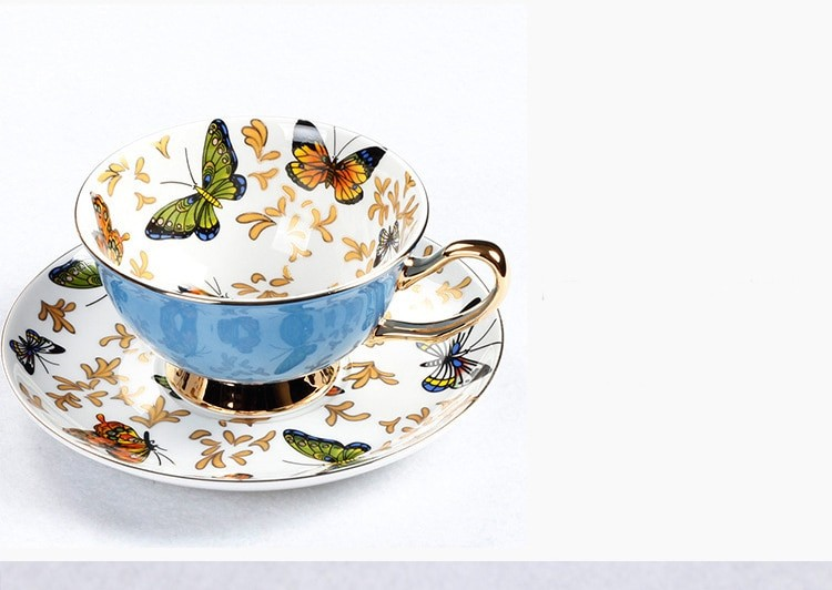 Butterfly Style Porcelain Teacup with Saucer Set