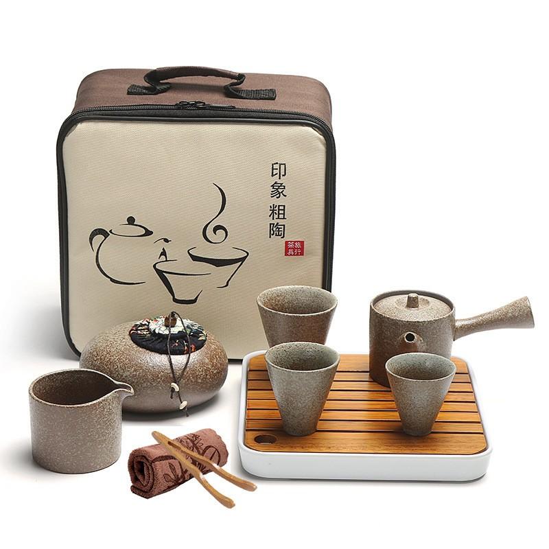 Portable Pottery Tea Set with Bag