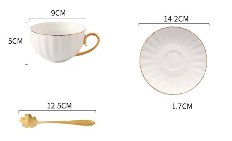 Afternoon Tea Ceramic Cup with Saucer and Spoon