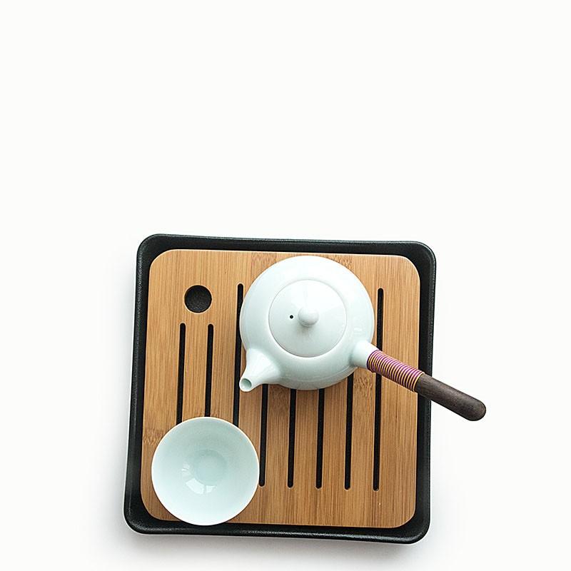 Bamboo and Ceramic Tea Trays