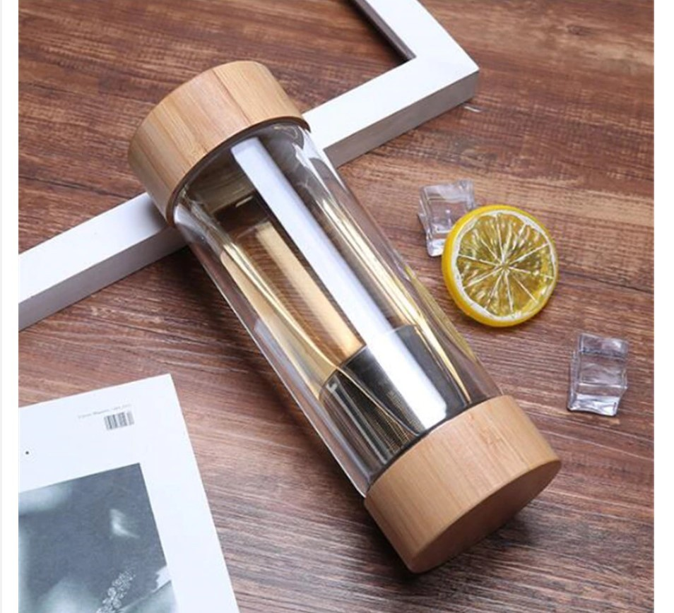 Glass Water Bottle with Stainless Steel Tea Infuser