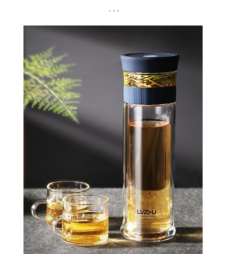 Double Wall Glass Tea Infuser Bottle