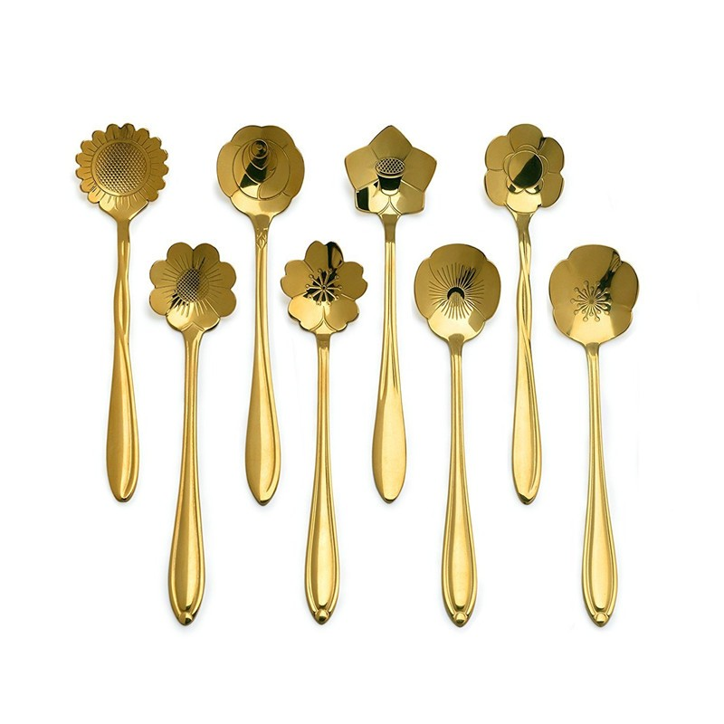 Floral Shaped Stainless Steel Tea Spoons Set